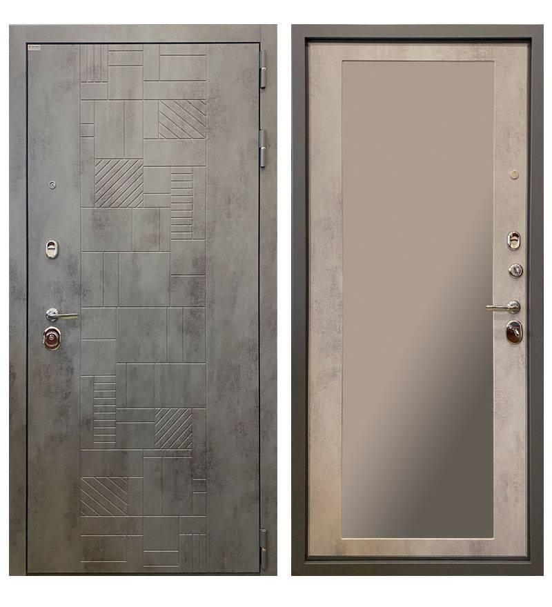 Металлическая дверь Ратибор Тетрис 3К Зеркало Бетон светлый
