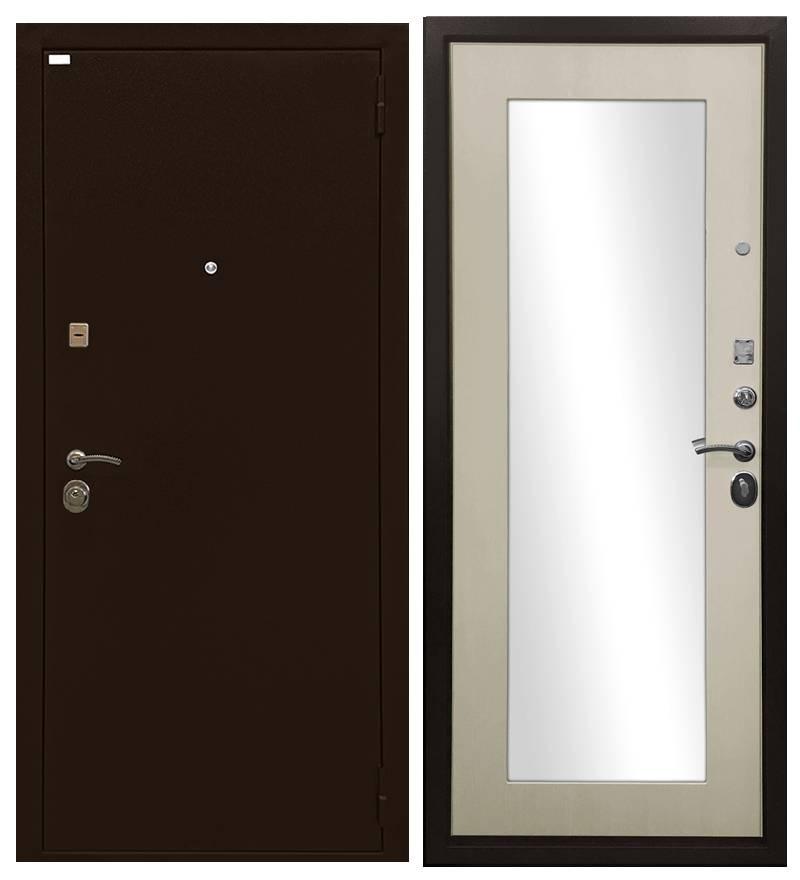 Металлическая дверь Ратибор Оптима 3К ЗЕРКАЛО Лиственница беж