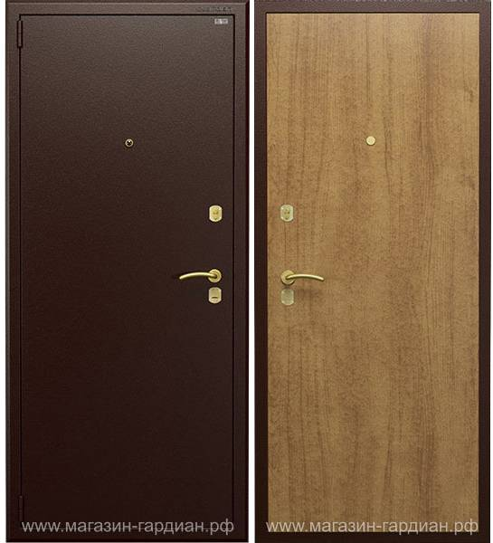Cтальная дверь ДС2 (коричневая / дуб), Гардиан 30.15 + Гардиан 32.01