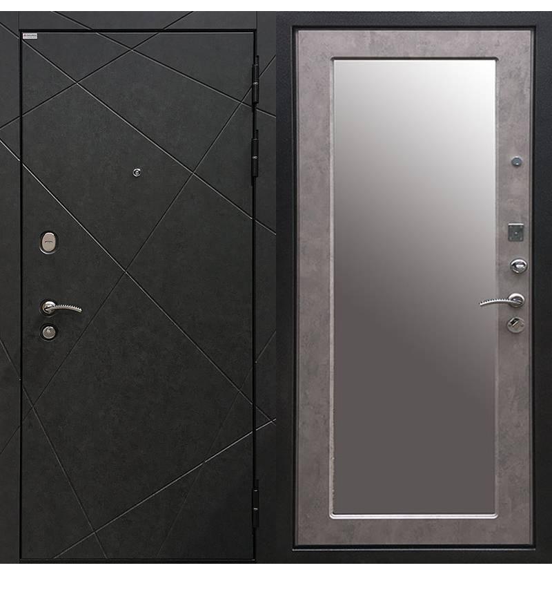 Металлическая дверь Ратибор Эстет 3К Зеркало Светлый Бетон