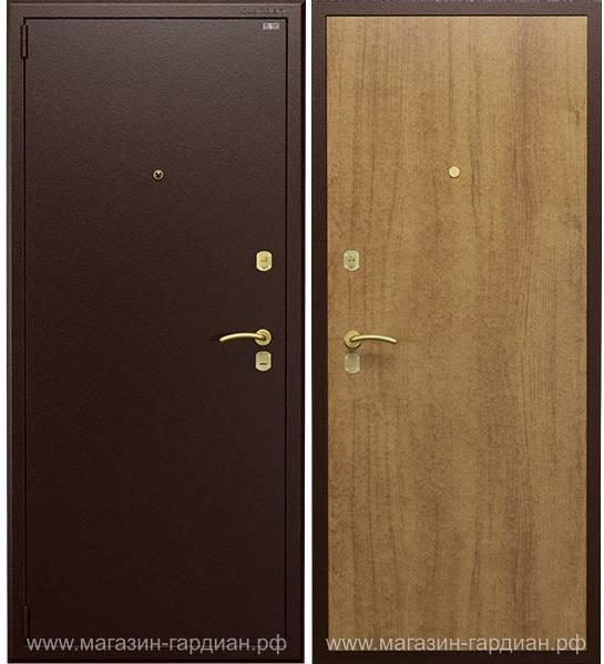Cтальная дверь ДС3 (коричневая / дуб), Гардиан 25.14 + вертикальный привод