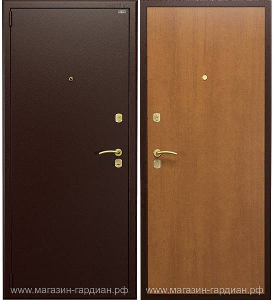 Cтальная дверь ДС3 (коричневая / итальянский орех), Гардиан 25.14 + вертикальный привод