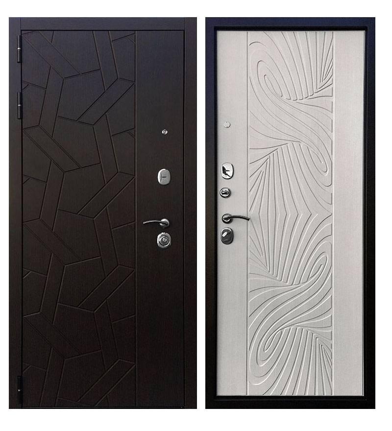 Металлическая дверь Ратибор Витраж 3К Лиственница беж