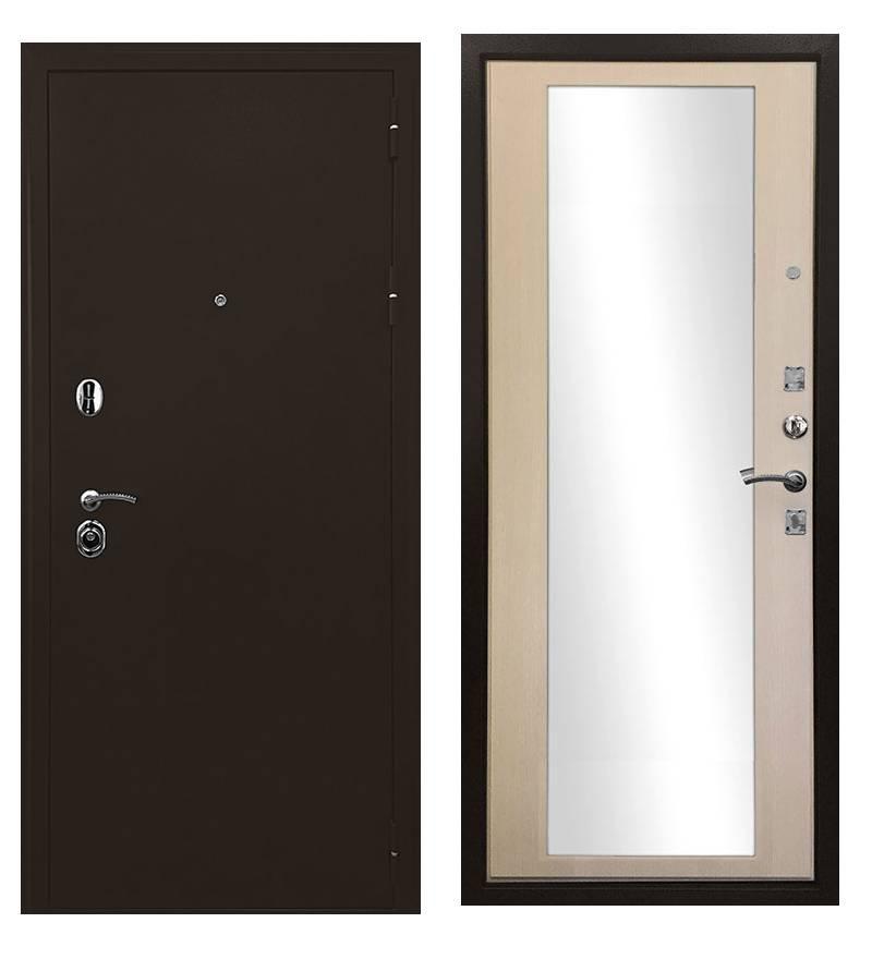 Металлическая дверь Ратибор Троя 3К с зеркалом (Белая матовая)