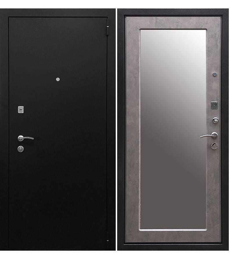 Металлическая дверь Ратибор Классик 3К Зеркало Светлый Бетон